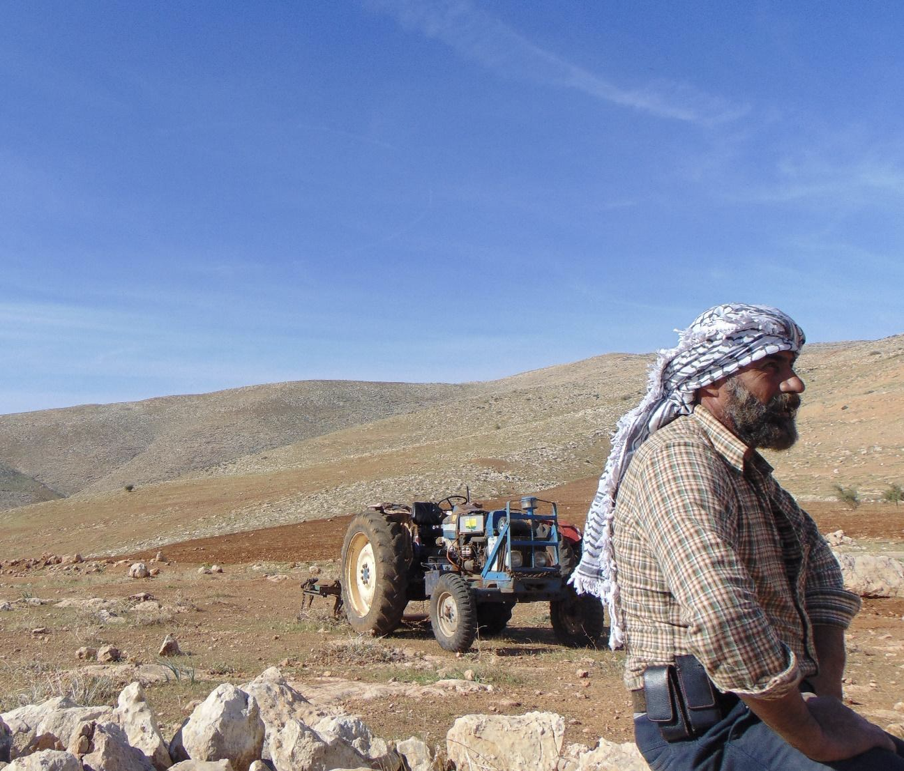 A Palestinian man observes his land that is being threatened by Israeli settlers